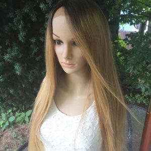 Ombre Dark Roots To honey Blonde Lace Front Wig  2